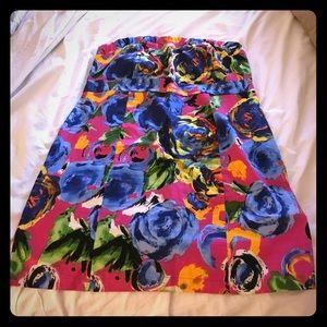 Strapless Floral Plus Dress