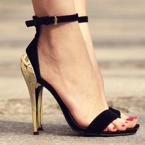 188420fd8 Zara Shoes | Gold Heels Suede Strappy Heels | Poshmark