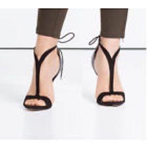 Zara NWT Black Suede Heels Tie Around Ankle