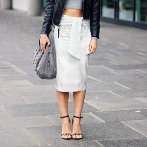 Zara striped midi skirt with tie
