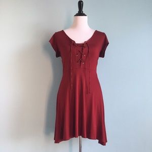 Deep Red Lace-Up Dress