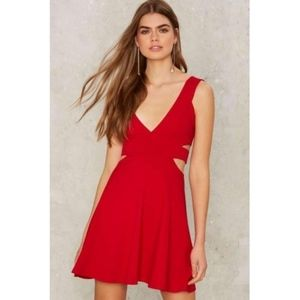 Red Fit Flare Dress Nasty Gal Size S