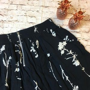 Urban Outfitters Black Floral Zip Front Skirt