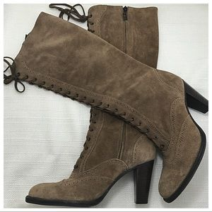 Arturo Chiang Suede Lace-Up Boots