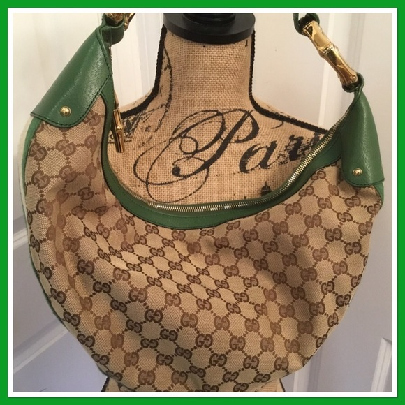 8766ab84b5008c Gucci Handbags - Gucci Monogram Web Bamboo Ring Hobo - Green Brown