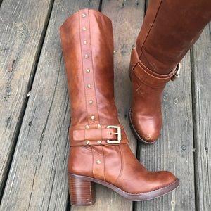 Michael Kors brown studded boots