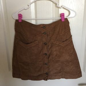 free people denim brown skirt
