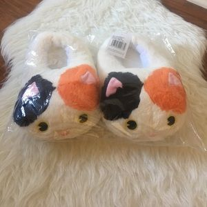 Plush kitty house slippers