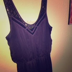 Purple sleeveless maxi dress with black detail
