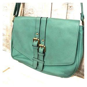 Teal Merona adjustable crossbody purse, bag