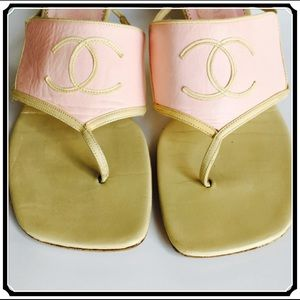 CHANEL Tan & Pink Sandals 💯 Authentic Heels 7.5