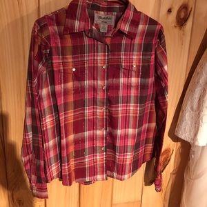 Dark pink/brown wrangler plaid shirt