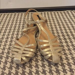 Forever 21 Gold Strappy Flats