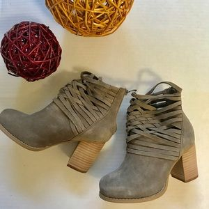 Torrid suede strappy booties in taupe!  Sz. 6W