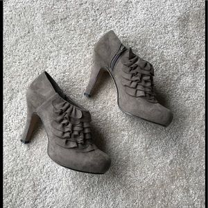 Gray Ankle Booties with Ruffle Detailing