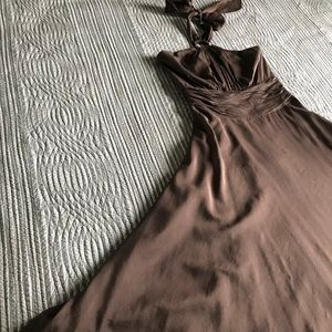 WHBM Brown Silk and Cotton Halter Dress Size 0