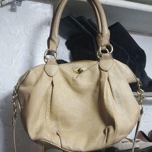 "J Crew beige leather ""Brompton"" hobo shoulder bag"