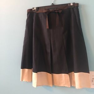 Silk two tone pleated skirt