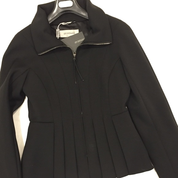 a82a3578e SPORTMAX black fitted zip front jacket NWT