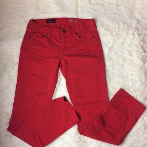 J.Crew Red Matchstick Straight Leg Jeans