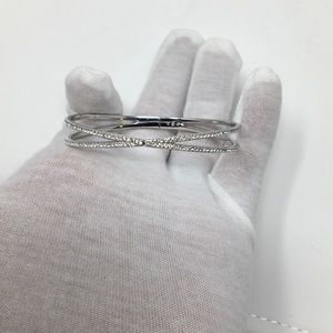 Nadri Silver and Pave Crystal Hinged Bracelet