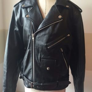 28bedc50 Wilsons Leather Jackets & Coats - Wilsons Leather Black Motorcycle Bad Boy  Jacket