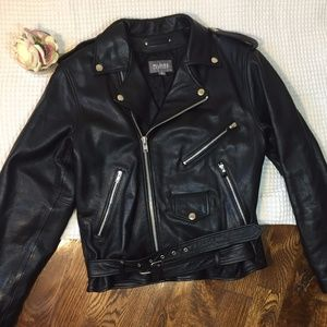 Wilsons Leather Black Motorcycle Bad Boy Jacket