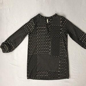 Black & Beige Geometric Print Tunic Dress sz M