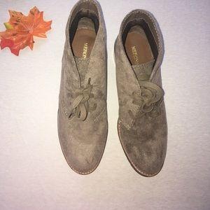 Soft grey heeled boots