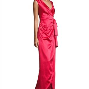 Red Stretch Satin Faux Wrap Evening Gown