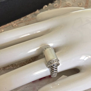 Jewelry - Cable Ring With Bone and CZ's