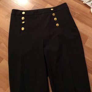 Pinup sailor skinny pants 8 h&m black gold buttons