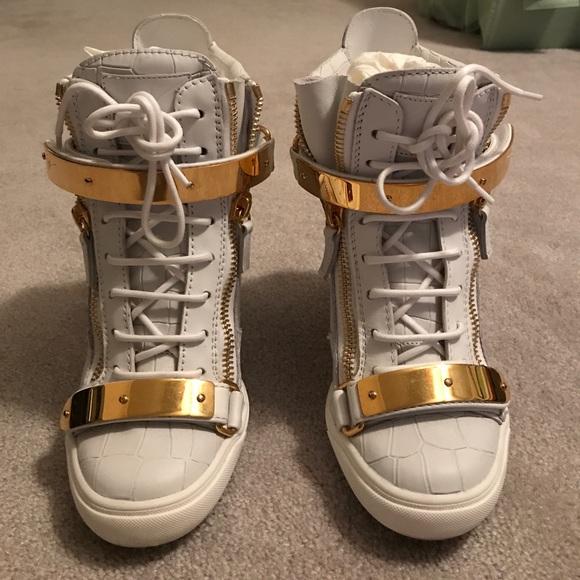 425ec1c0c0bc7 Giuseppe Zanotti Shoes | Lorenz Sneaker Wedges In Bianco | Poshmark