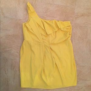 NWT Ashley Stewart yellow one shoulder pleat dress