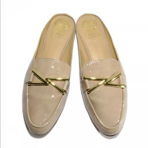 Vince Camuto Nude Tan Patent Leather Mules Loafers