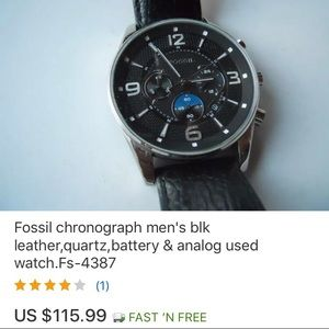 Fossil chronograph men's leather& analog used date