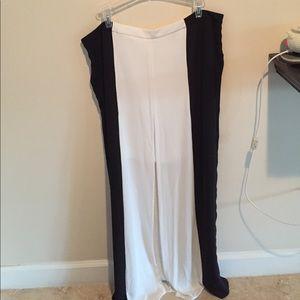 White-off white w/Black stripes Long Skirt
