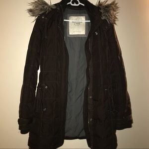 Abercrombie & Fitch Brown Fur Parka