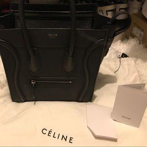 Celine micro leather black bag
