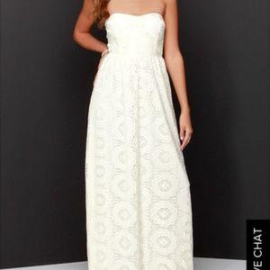 Strapless cream lace maxi dress