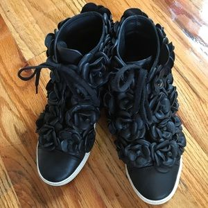 Chanel Black Calfskin Camellia Flower Sneakers 6.5