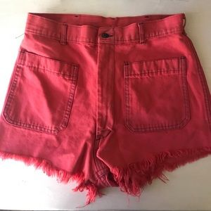 High Waisted Red Jean Shorts