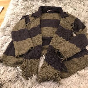 Free people grey and olive striped sweater