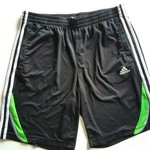 Adidas black and green basket ball shorts