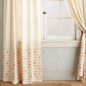 Anthropologie Stitched Floret Curtains