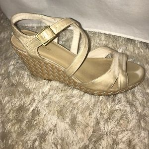 """Gold, strappy, """"woven"""" wedges"""