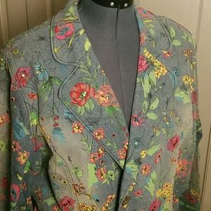 BOGO-FREE  Vintage Floral Jean Blazer Embellished