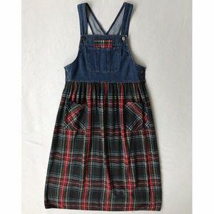 Vintage Overall Maxi Denim/Flannel Dress sz S