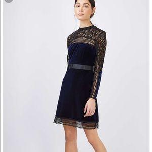 Topshop Velvet & Lace Aline Dress