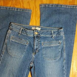 Zara Basic flare leg, mid rise jeans